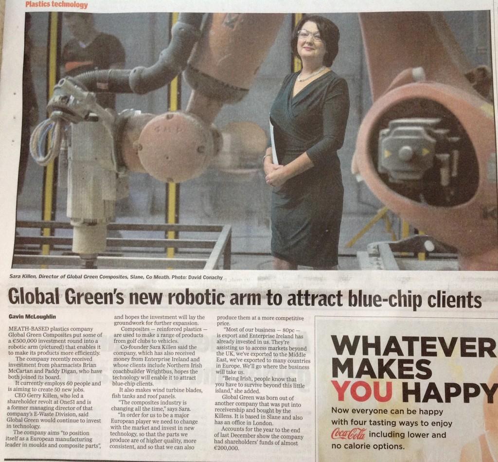 Robotic arm in Ireland composites company